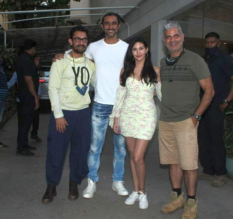 aamir khan with kunal kapoor for the special screening of koi jaane na movie