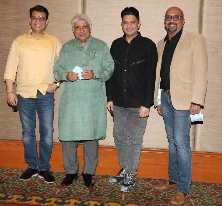 L-R Mr. Neeraj Kalyan, Mr Javed Akhtar,Mr Bhushan Kumar, and Mr Rakesh Nigam